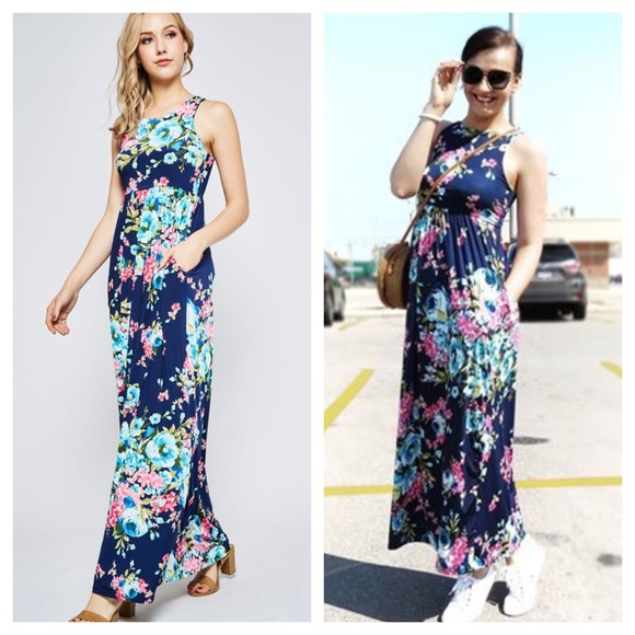 Dresses & Skirts - LAST 2 - Navy Floral Print Maxi Dress With Pockets